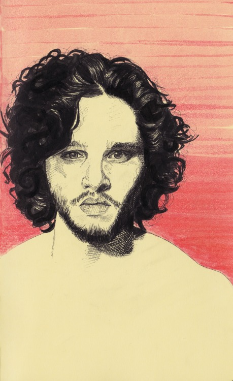 eatsleepdraw:  A portrait of Kit Harington from the Game of Thrones series. Fineliner and marker on a Moleskine sketchbook. More art here.