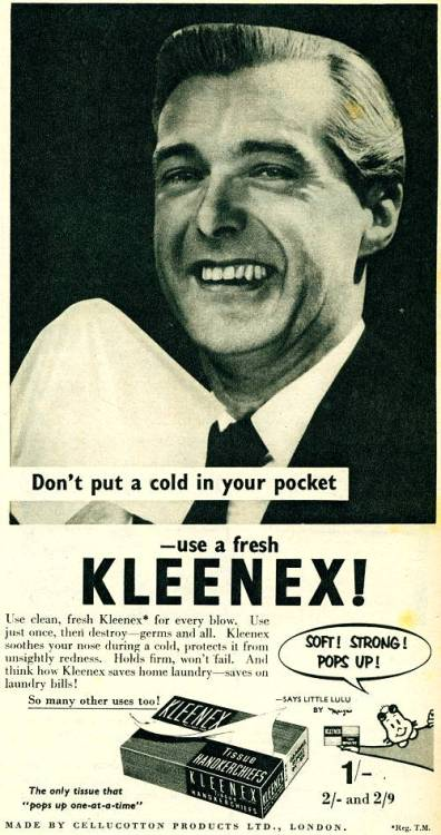 ~ Kleenex, 1955via HistoryWorld