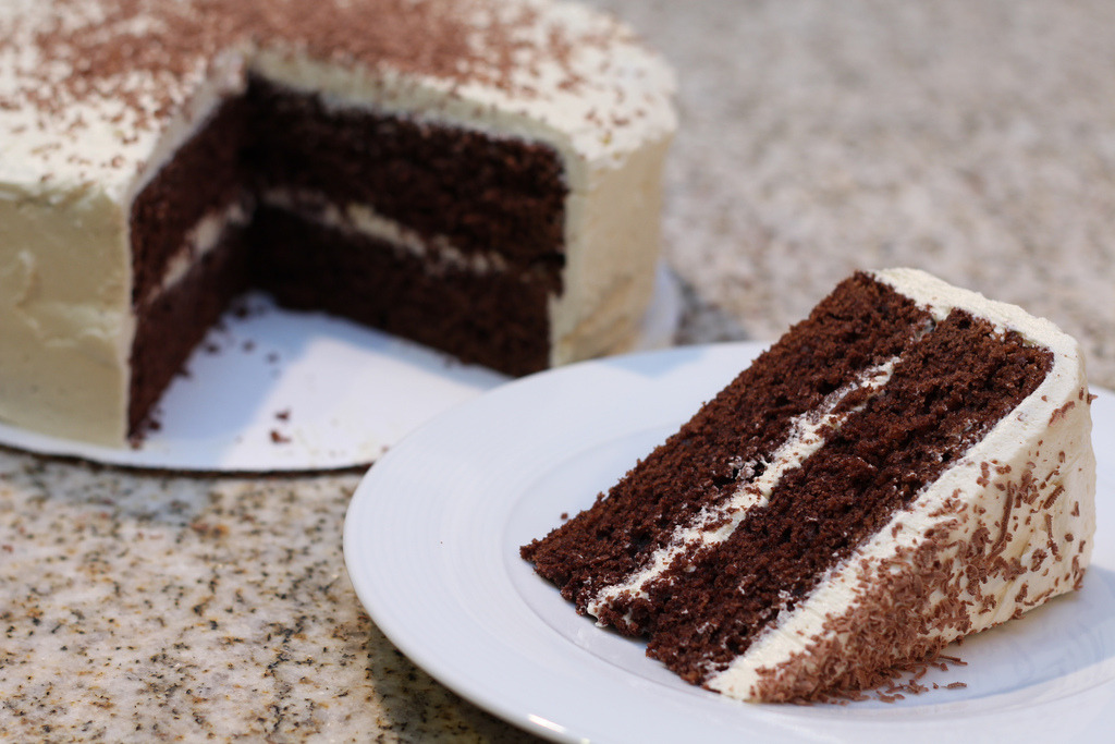 Chocolate Cake with Vanilla Buttercream Frosting (by CosmopolitanComfort)