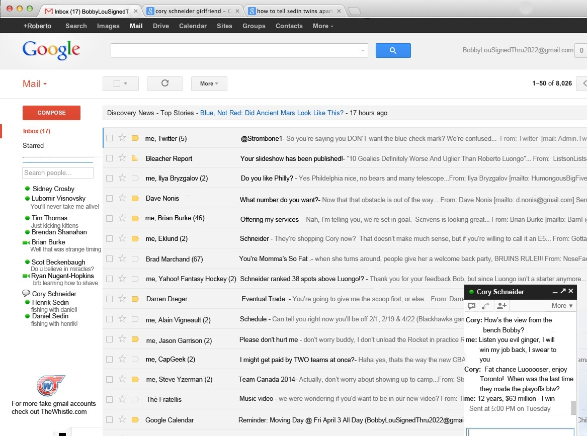 LEAKED: Screenshot of Roberto Luongo's Gmail inbox.