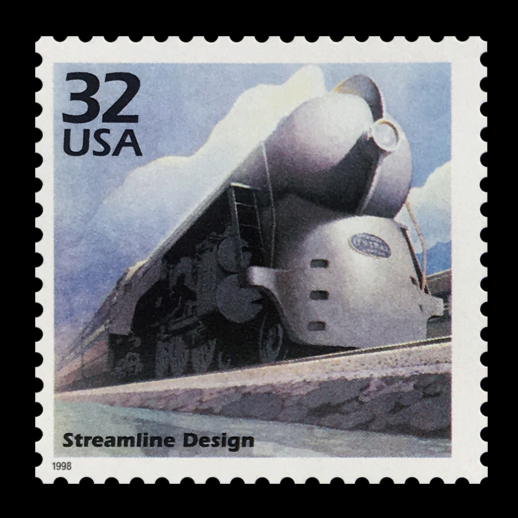 """US postage stamp.Scott #3185K (1998)1930s - Celebrate The Century""""Streamline Design""""Stressing efficiency and speed, streamlined designs were used for cars, planes, trains, buildings, and even appliances. The New 20th Century Limited, shown on this poster at the Albany Institute, was an example of the aerodynamic style. #stamp#stamps#stamp collecting#us stamps#mail#postage#1930s#1998#32 cents#trains#streamline"""