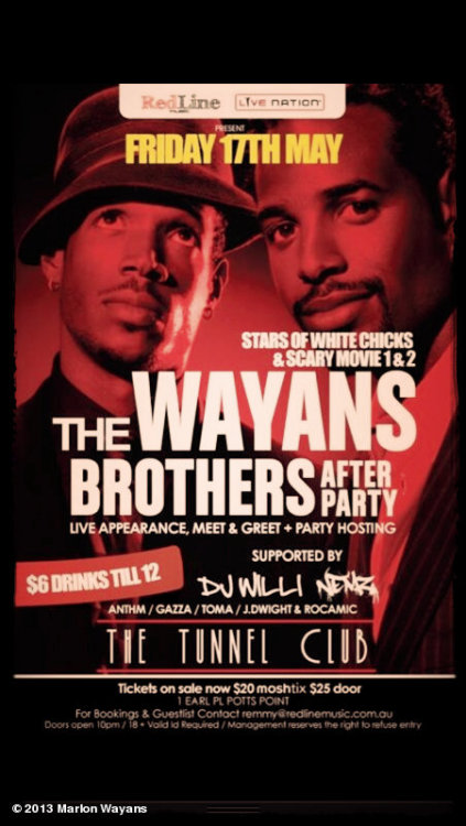 After the show… It's the after party #wayansbrosaustrailiaSYDNEYView more Marlon Wayans on WhoSay