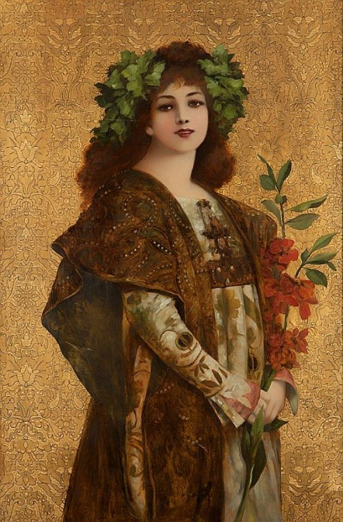 "dipot:  Portrait of Sarah Bernhardt holding flowers, from the opening scene of Gismonda, a Greek melodrama in four acts by Victorien Sardou that premiered in 1894 at the Théâtre de la Renaissance in Paris. Studio of Georges Clairin, unsigned, oil on lithographic image on tooled gilt leather mounted to stretcher bars, 34""×23""."