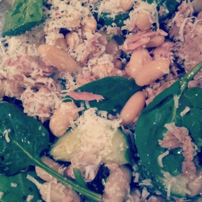 The 2 Minute Dinner |  Tuna and Cannellini Beans on Fresh Spinach and Cucumber, a squeeze of lemon, a drizzle of Balsamic Vinegar and a thimble of parmesan cheese I get so frustrated when people say they don't have time to prepare a healthy meal, or they choose convenience foods over simple fresh foods. My dinner tonight is evidence that you don't have to try that hard to come up with something delicious, nutritious and satisfying. I didn't even have to plan ahead.  Following my gym session tonight, I came home to that 'dinner for one' scenario (we all know that one, and I'll bet some of you might have even used it as an excuse for cheating on your meal plan).  Craving something to fuel my body post workout, I stuck my head in the cupboard, grabbed a can of Tuna (in spring water, drained) and a can of cannellini beans (drained and rinsed with water). Added the two of these together with a splash of balsamic vinegar. Then I remembered I had some spinach leaves and cucumber in the fridge from my weekend salads and BAM! Put it all in my salad bowl and grabbed my knife and fork. Done.  Feeling a little indulgent, I grated a thumb size piece of parmesan cheese over the top for a little savoury flavour and also a squeeze of fresh lemon for a fresh and zesty taste.  And what's best - this made enough for two servings! So half goes into a tupperware container for tomorrow's lunch! Now that's some good meal prep right there! Time to prepare: 2 minutesTime to enjoy: as long as you like