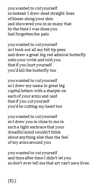 thep4inter:  outreasoned:  self harm help  i wish someone would do this to me