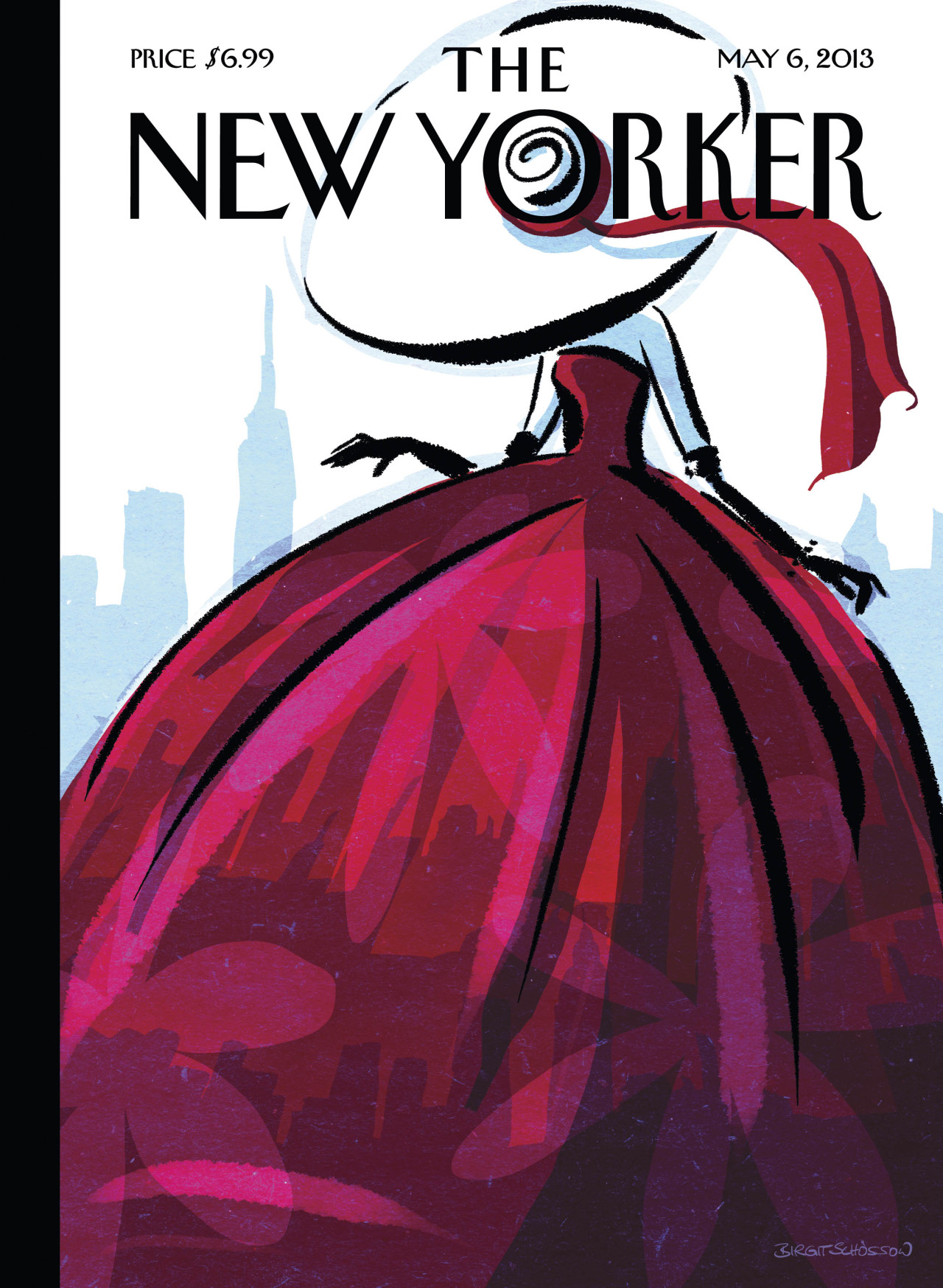 "newyorker:            ""When I visited New York, one of my favorite things to do was to explore the various flea markets,"" says Birgit Schössow, the German artist behind this week's cover, ""City Flair."" ""And in the last few years, I've even ordered some beautiful costumes and dresses from the forties and fifties from New York's vintage shops online. These little works of art are simply beautiful to look at from time to time, and to wear every now and then. There's so much history in a costume that is already nearly seventy years old! It allows you to fantasize each story.""  She concludes: ""I love the very feminine styles of that era; my cover was inspired by the fashion drawings of that time. But jeans are much more practical, of course.""            Cover of the May 6, 2013 issue. Get the story behind this week's cover, ""City Flair"" by Birgit Schössow as well as a slide show of other New Yorker covers depicting city flair: http://nyr.kr/18827FZ  Beautiful."