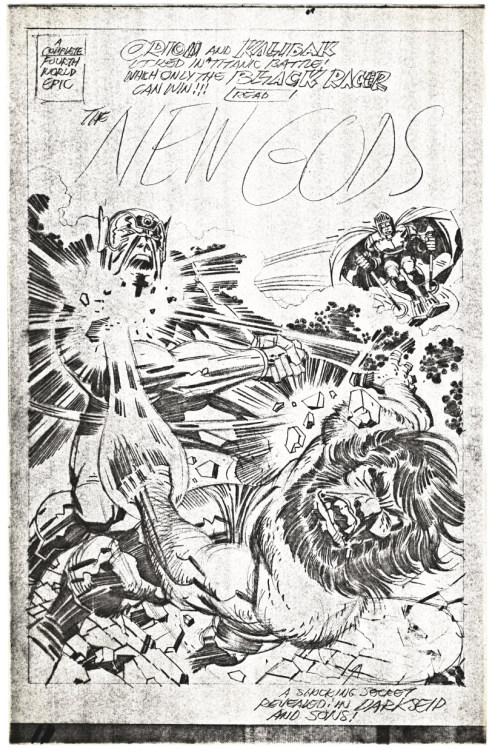 "You want a New Gods cover? Ok, here's a photocopy of Jack Kirby's pencil art for the cover to his story ""Darkseid and Sons!"" first published by DC Comics in New Gods 11, dated October-November 1972."