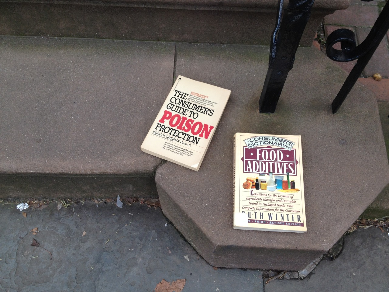 "michellereneepaul:  brooklynstoopbooks:  juxtaposition  so, a couple of months ago, this happened on twitter:   @fuzzydinosaur: this pair of stoop books makes me a little nervous. [see above photo] @factsarenot: Is ""stoop books"" a thing? That could be a tumblr.  since ""stoop books"" are TOTALLY a thing in brooklyn — i listened to jess and made it a tumblr. scroll through brooklynstoopbooks.tumblr.com and you'll see what i've come upon in the last few months… though i don't think any surpass this original amazingness seen above.  YAY."