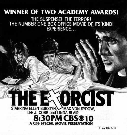 Advertisement for the television premiere of The Exorcist on CBS in 1980.