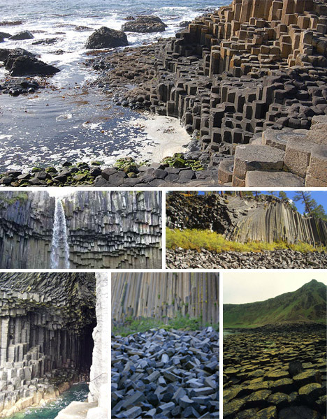 geometrymatters:  Columnar basalt take hexagonal form, on the coast of Ireland.