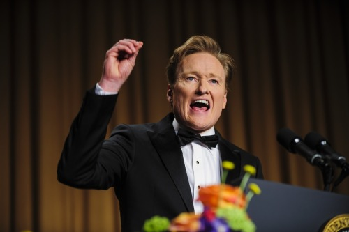 "The best part about Conan O'Brien's monologue at the WHCD is that Jay Leno didn't show up at the last minute instead. Conan's best lines: On the GOP's future: ""The Republican Party has a new rising star, Marco Rubio, or as he's known in the Republican Party, our black guy."" On CNN: ""CNN's ratings are so low James Earl Jones' voice comes up and says: 'You're watching CNN??'"" On old media: ""The print media are here for two very good reasons: food and shelter."" On the NRA: ""Here's a fun fact about tonight's food— everything you ate was personally shot by Wayne LaPierre. Don't worry, it was during a home invasion. The fish came in through the window. Incidentally, you may not know this, but Wayne LaPierre is merely the executive vice president of the NRA. Which begs the question, how freaking crazy do you have to be to be the actual president of the NRA? He's not even at the top."" Photo by Pete Marovich/Bloomberg/Getty Images"