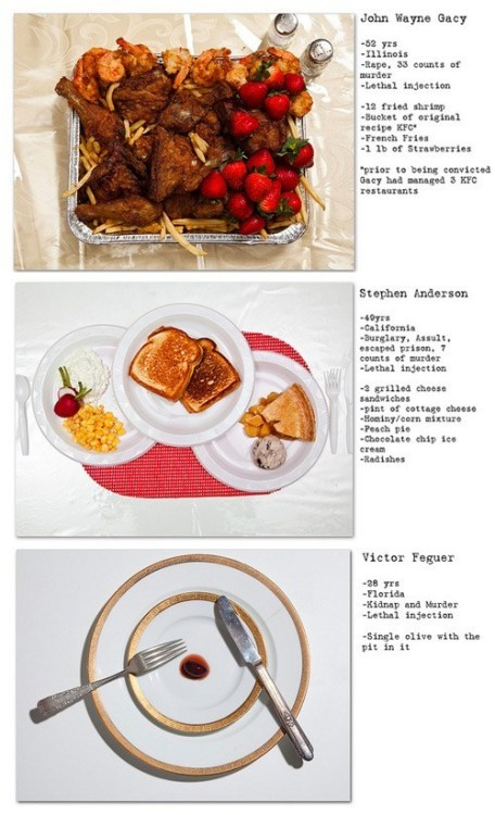 "thedailywhat:  The Last Meals of Death Row Inmates  For his latest project ""No Seconds,"" photographer Henry Hargreaves recreated and documented the last meals requested by some of the most notorious executed criminals in history."