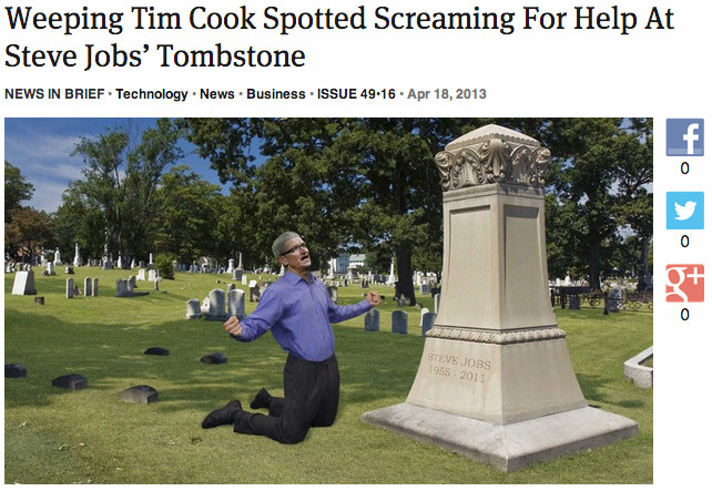 theonion:  Weeping Tim Cook Spotted Screaming For Help At Steve Jobs' Tombstone: Full Report
