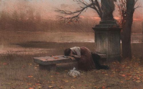 Immersed in Thought or Lonely, 1890, oil on canvas by Jakub Schikaneder, 1855-1924, Czechoslovakian artist.  This woman is not only thoughtful and/or lonely, she is grief-stricken. It can be assumed someone very close to her has died. This scene has been given a very weak title with the evidence we see. Everything about it is bleak and sad. The painting is stark in its simplicity. It is the end of the day and the end of the year and all points to loss.   This work is in the National Gallery in Prague, Czechoslovakia.
