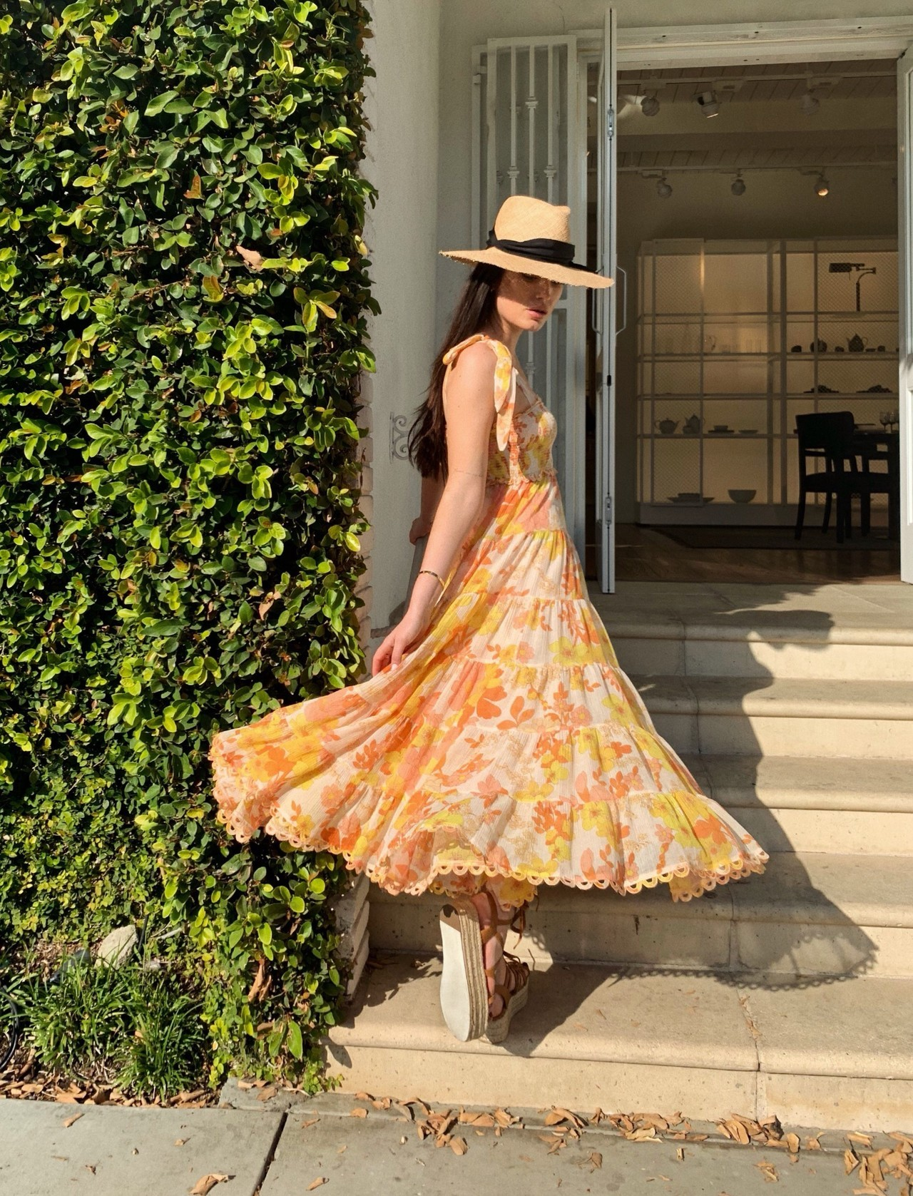 As Worn Instore:Rylee from our Melrose Place store wears the Primrose Crinkle Dress,Flatform Wrap Espadrille & Grosgrain Fedora from our Resort Swim 19 Collection.