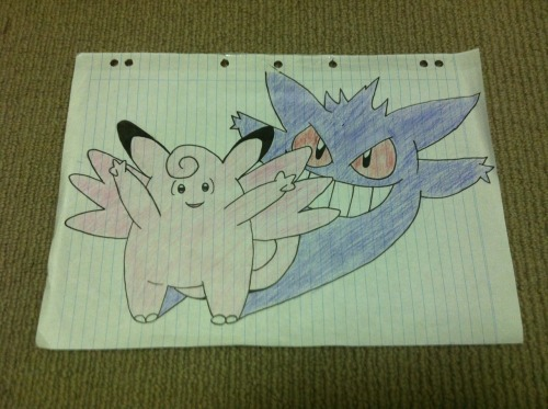 My Clefable/Gengar myth drawing c: