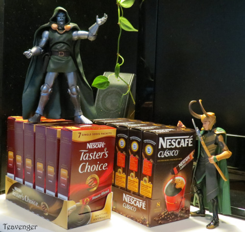 Somebody assemble the Avengers!  Loki and Doom have discovered instant coffee! D: