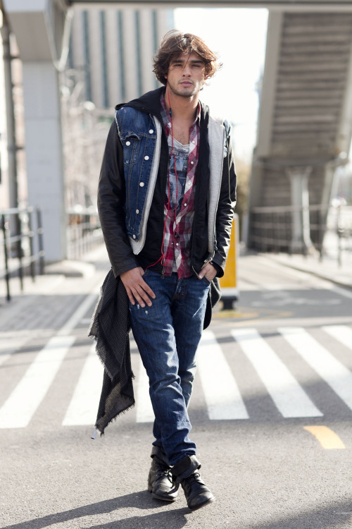 Brazilian model Marlon Teixeira before Jeffrey Fashion Cares 2013 New York agency: Wilhelmina São Paulo/Mother agency: Way Marlon is currently in the SS13 Armani Exchange campaign and was recently on the May cover of L'Officiel Hommes Korea. He is wearing a Dsquared jacket and jeans, AllSaints shirt, and Volcom shoes. Just some eye candy for the male-model-obsessed!