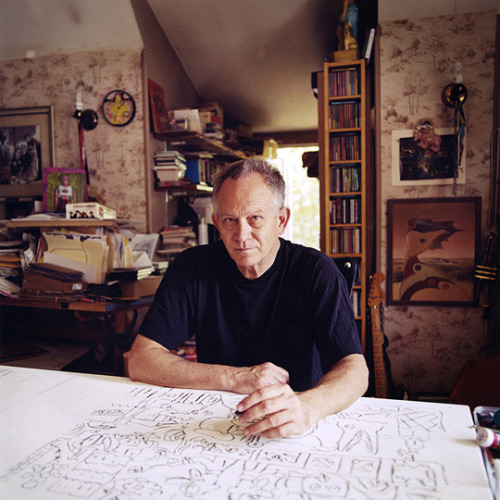 "From the ""Unbored"" website:  Drawing tips from the great GARY PANTER!INTRODUCTION Get a book-size (or paperback-size)d sketchbook. Write your name and date on an early page and maybe think of a name for it — and if you want, write the book's name there at the front. Make it into your little painful pal. The pain goes away slowly page by page. Fill it up and do another one. It can be hard to get started. Don't flunk yourself before you get the ball rolling. You might want to draw more realistically or in perspective or so it looks slick — that's is possible and there are tricks and procedures for drawing with more realism if you desire it. But drawing very realistically with great finesse can sometimes produce dead uninteresting drawings — relative, that is, to a drawing with heart and charm and effort but no great finesse. You can make all kinds of rules for your art making, but for starting in a sketchbook, you need to jump in and get over the intimidation part — by messing up a few pages, ripping them out if need be. Waste all the pages you want by drawing a tic tac toe schematic or something, painting them black, just doodle. Every drawing will make you a little better. Every little attempt is a step in the direction of drawing becoming a part of your life. TIPS  1. Quickly subdivide a page into a bunch of boxes by drawing a set of generally equidistant vertical lines, then a set of horizontal lines so that you have between 6 and 12 boxes or so on the page. In each box, in turn, in the simplest way possible, name every object you can think of and draw each thing in a box, not repeating. If it is fun, keep doing this on following pages until you get tired or can't think of more nouns. Now you see that you have some kind of ability to typify the objects in your world and that in some sense you can draw anything. 2. Choose one of the objects that came to mind that you drew and devote one page to drawing that object with your eyes closed, starting at the ""nose"" of the object (in outline or silhouette might be good) and following the contour you see in your mind's eye, describing to yourself in minute detail what you know about the object. You can use your free hand to keep track of the edge of the paper and ideally your starting point so that you can work your way back to the designated nose. Don't worry about proportion or good drawing this is all about memory and moving your hand to find the shapes you are remembering. The drawing will be a mess, but if you take your time, you will see that you know a lot more about the object than you thought.  3. Trace some drawings you like to see better what the artist's pencil or pen is doing. Tracing helps you observe closer. Copy art you like — it can't hurt. 4. Most people (even your favorite artists) don't like their drawings as much as they want to. Why? Because it is easy to imagine something better. This is only ambition, which is not a bad thing — but if you can accept what you are doing, of course you will progress quicker to a more satisfying level and also accidentally make perfectly charming drawings even if they embarrass you. 5. Draw a bunch more boxes and walk down a sidewalk or two documenting where the cracks and gum and splotches and leaves and mowed grass bits are on the square. Do a bunch of those. That is how nature arranges and composes stuff. Remember these ideas — they are in your sketchbook.  6. Sit somewhere and draw fast little drawings of people who are far away enough that you can only see the big simple shapes of their coats and bags and arms and hats and feet. Draw a lot of them. People are alike yet not — reduce them to simple and achievable shapes. 7. To get better with figure drawing, get someone to pose — or use photos — and do slow drawing of hands, feet, elbows, knees, and ankles. Drawing all the bones in a skeleton is also good, because it will help you see how the bones in the arms and legs cross each other and affect the arms' and legs' exterior shapes. When you draw a head from the side make sure you indicate enough room behind the ears for the brain case.  8. Do line drawings looking for the big shapes, and tonal drawing observing the light situation of your subject — that is, where the light is coming from and where it makes shapes in shade on the form, and where light reflects back onto the dark areas sometimes. 9. To draw the scene in front of you, choose the middle thing in your drawing and put it in the middle of your page — then add on to the drawing from the center of the page out.  10. Don't worry about a style. It will creep up on you and eventually you will have to undo it in order to go further. Be like a river and accept everything. Thanks to our pal, M.A.G. for bringing this to our attention"