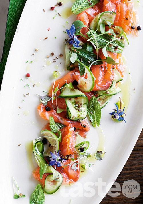 Gin-cured salmon with juniper berries and coriander seeds is a light and bright party favourite. (Recipe by Jill Dupleix; Photography by Ben Dearnley)