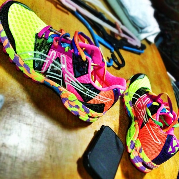 Let's try you out first for a run. #asics #running #shoes