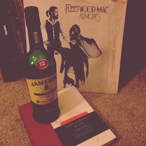 Sunday night therapy. #draw #write #jameson12year #whiskey #fleetwoodmac #rumours #vinyl #music #1977filter because the album was released in #1977