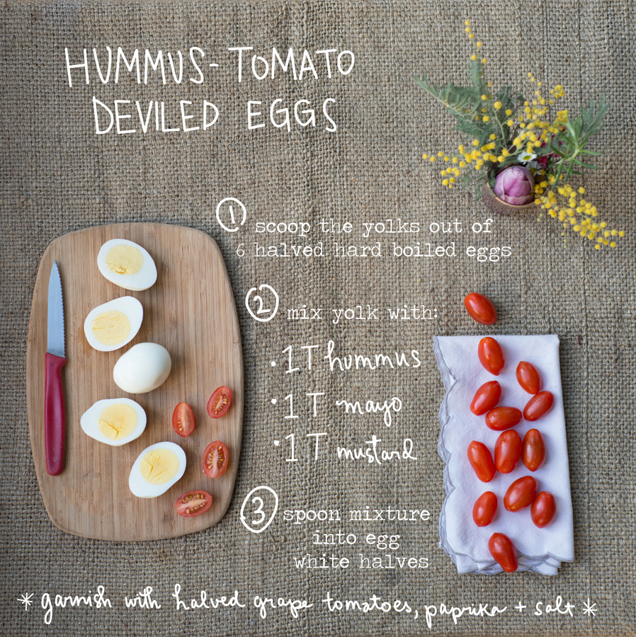 Hello, cute Superbowl Party food! I'm going to make these little Hummus-Tomato Deviled Eggs for the big game on Sunday. It's been unseasonably warm in Northern California (with a lot of early blooms!) and I've been sitting outside with these for lunch several times this past week… and I can't get enough of them! Just mash together the yolks with hummus, mayonnaise, and (spicy) mustard until creamy and spoon the mixture into the egg whites. I top each with a half of a grape tomato (like cherry tomatoes, but oblong like a football!). Finish with a sprinkle of smoky paprika and (Maldon) sea salt. Enjoy!