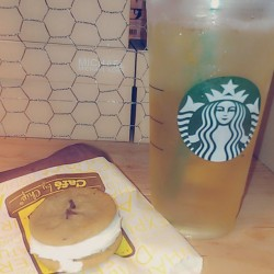 What I'm snacking on while at work. #greentea #Starbucks #chocolatechip