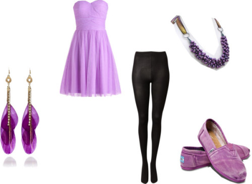 Purple by mitzy-girl featuring toms flatsSlip dress / Witchery opaque tight, $21 / TOMS  flat / Pearl jewelry / River Island purple earrings, $3.05