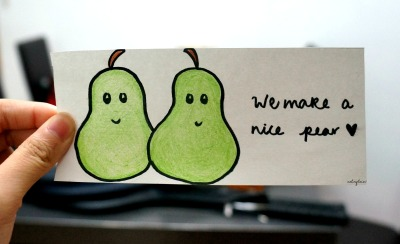 eatinqtacos:  we make a nice pear, don't we? <3 :D