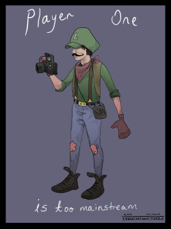 idrawcartoons:  Hipster LuigiBecause Player One is too mainstream.