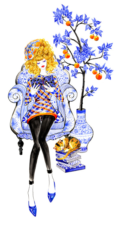 eatsleepdraw:  Sometimes all you need is a good book… Fashion Illustration by Sunny Gu , outfit inspired by Junya Watanabe Fall 2013 RTW collection. Get updates from Facebook Twitter Pinterest