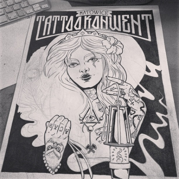 #illustration #ink #inprocess #drawing #handmade #saint #tattoo #girl #poster #tattooconvention #katowice #aaaghr