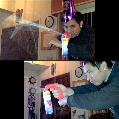 NYE Party Ops: tactical Silly String and knife stance.