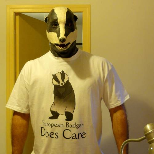 European Badger Does Care by ~melesmeles-faber One of my shirts has been found in its natural habitat!  It belongs to an awesome Badger Man who makes fantastic masks (now go check out his gallery!)