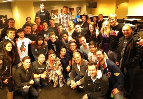 Gaga backstage with Backplane employees after the Born This Way Ball in San Jose, California.