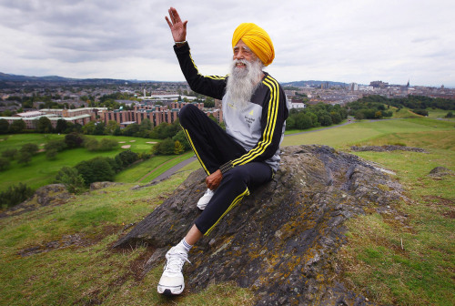 "Many people declare, ""I could never run a marathon."" But this man, Fauja Singh, did —and he did so at 100 years old. Even more impressive? At age four Fauja couldn't walk. His story shows that anyone can accomplish their dreams if they set their mind to it.  On the first day of training, Fauja arrived limber and energetic and dressed, as he believed was perfectly appropriate, in a dazzling three-piece suit. Harmander told him he needed a wardrobe change. After adamant protests, Fauja relented, ditched the suit and bought running gear. He showed up every day after that, building his routine around his training schedule. His mileage increased as the weeks passed. Race day arrived. After 6 hours and 54 minutes, 4:48 behind winner Antonio Pinto, Fauja crossed the finish line. At age 89, he was a marathoner. Soon, he would be a star.  Get motivated. Read his story. (via The Runner - ESPN)"