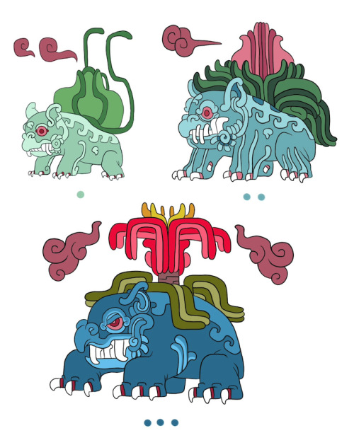 Mayan Pokemons are too fierce. monarobot:  Some Pokeymans: Bulbasaur, Ivysaur and Venusaur as ancient mayan beasts.  The dots underneath each drawing are their numbers in maya numerals.