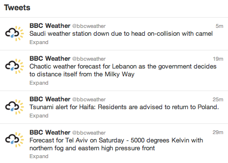 Oops. BBC always delivers accurate and reliable weather forecasts.