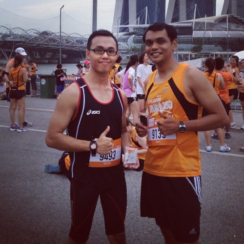 Completed another marathon with @rusydigallagher  (at The Float @ Marina Bay)