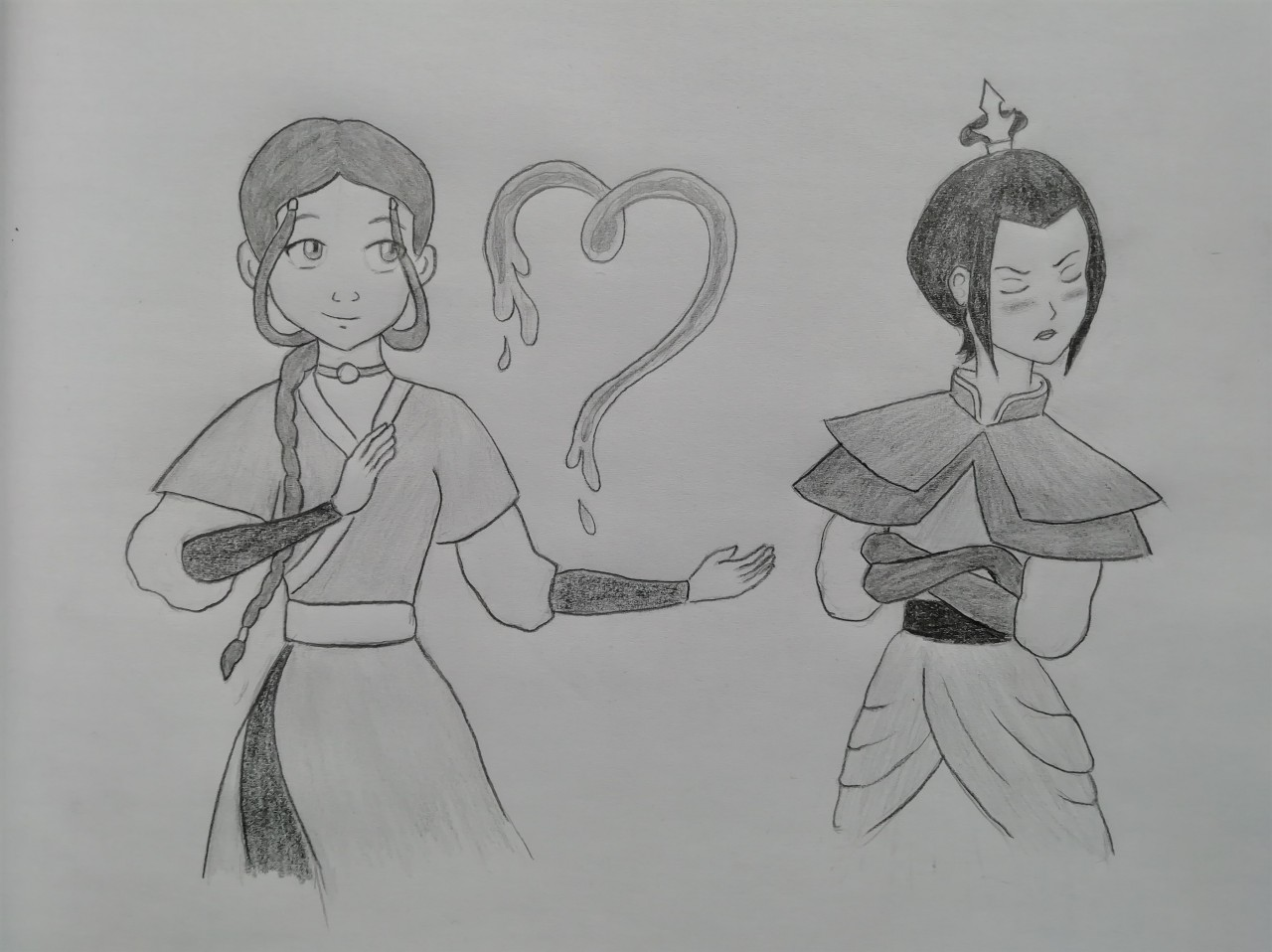 Pictured: Azula definitely not caring about any lovey-dovey nonsense. Nope. Look how much she doesn't care, guys. #Azula.........deserves love  #thats a hill Im more than willing to die on  #Ive been wondering why this ship isnt more popular  #I mean theyre narrative foils  #two very badass ladies who have one of THE best fight scenes in anything ever #its perfect #anyway now that I have somewhat unlocked the ability to draw  #I will use it to deliver upon the world that of which it needs more  #katara x azula #atla#atla fanart#azula avatar#atla katara#katara drawing#katara fanart#azula fanart#kazula#azutara #I have no idea what the actual shipname is  #my attempt at art