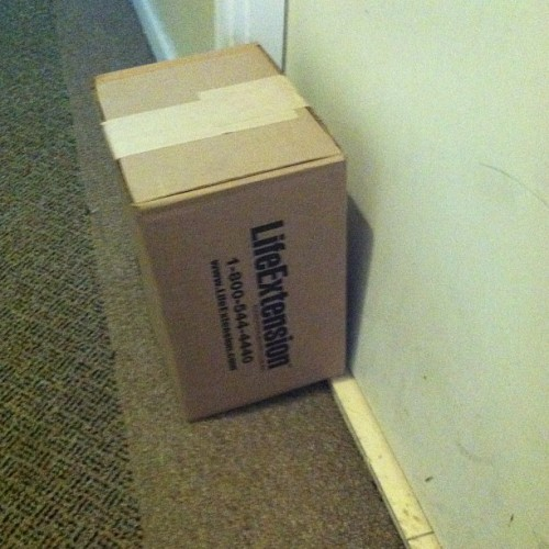 This LifeExtension box has been sitting outside my neighbor's door for two weeks now. What if he's dead because they didn't deliver his life extension on time?