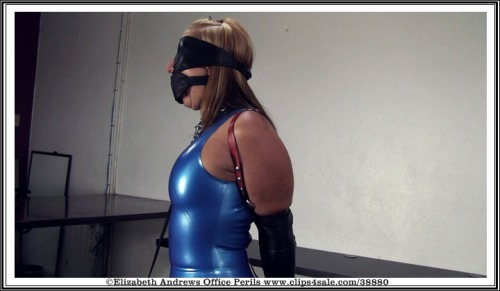 @cfrostfetish blindfolded, plug gagged, collared and wearing a ledermeister armbinder & latex while forced to walk on leash. - http://www.clips4sale.com/38880/7375971 - Crystal Frost: Secretary in a blue latex dress, collared, leashed & trained