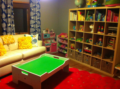 Play room for K-alien is 99% completed. I couldn't be happier! This room wasn't being used and now is one of the most cheerful parts of our house.  P.S. It does have 50 inch TV for mama :)