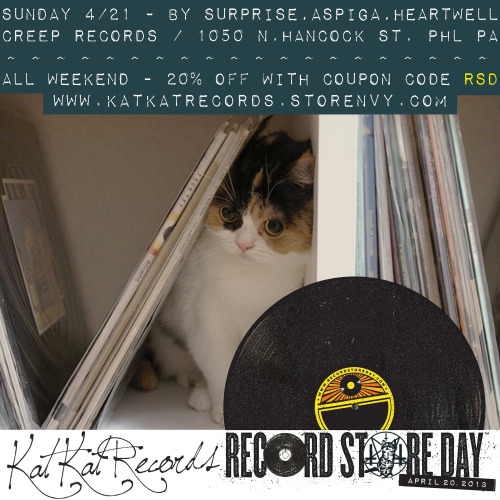 Today is that glorious holiday we wait for every year - RECORD STORE DAY. Check out local stores for RSD exclusives, plus 20% off all weekend at katkatrecords.storenvy.com with the coupon code RSD. And for those of you in the Philly area, we have a free show Sunday at CREEP RECORDS with BY SURPRISE, ASPIGA, and HEARTWELL at 7pm. We'll have distro and t-shirts there for 20% off as well. Show info: http://www.facebook.com/events/444833212260692/