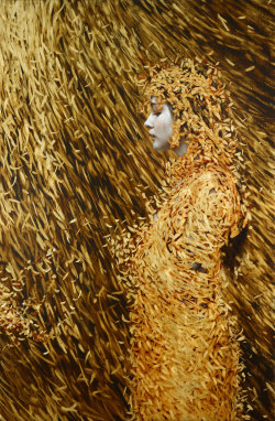 darksilenceinsuburbia:  Brad Kunkle. Cocoon, 2012. Oil and gold leaf on linen.
