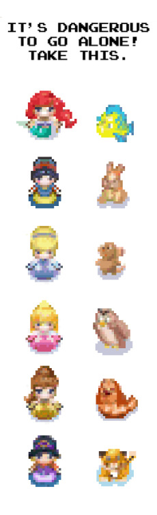 frogchildren:  frogchildren:  8-bit Disney Princesses I made for a Nintendo Gameboy game. Don't forget I'll be at Emerald City Comicon this weekend, come say hi.  I'll be giving away Creature Academy art and sketches.  I need to update these.  Peoples, I know I have said it before, you need to listen to me.  Kevin Hanna is the MAN.