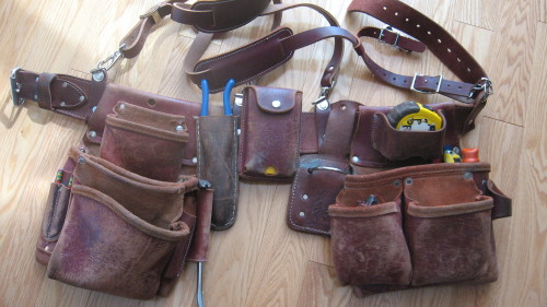 My Occidental Leather tool belt one year in. 1817.5 hours worked over 12 months. It fits as well as any glove I've ever owned, and is still getting better every work day. I've found my setup, riveted things between the suspender loops. I hope it'll look just as good nine years and 16000 hours from now!