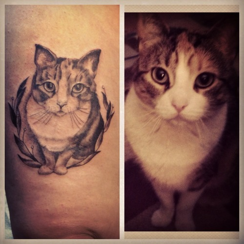 fuckyeahtattoos:  I got this portrait of my cat done at the Rochester Tattoo Convention, by Amy Shapiro. She is from Brooklyn, NY and I am so lucky to have this work done by her. This picture was taken right after it was done, so it is still red/swollen, but I am so proud of this tattoo.