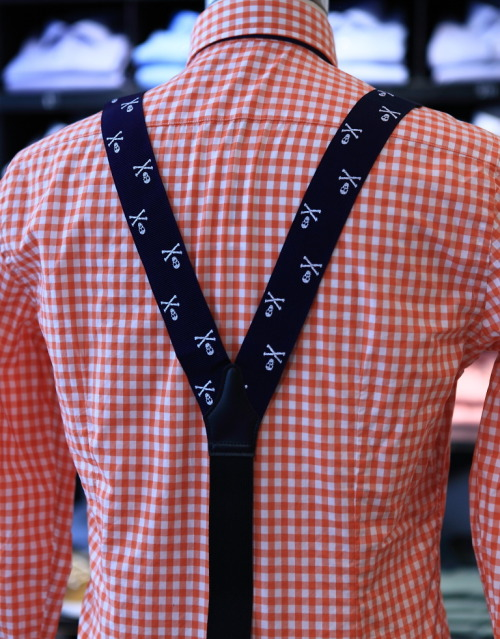 """Blue over orange and skulls over gingham"""",Are you ready to starti"""